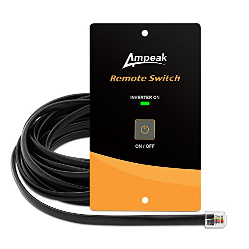Ampeak AC Power Inverter Remote On/Off Switch with 20 Ft Cable Push Button Switch LED Flush Mount