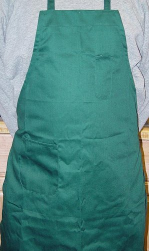 Winco BA-PGN Full Length Bib Apron with Pocket, Green