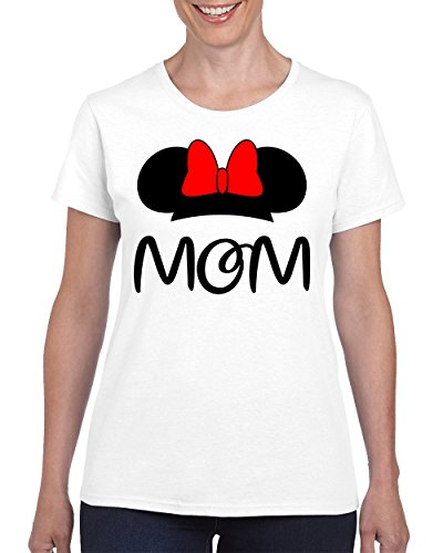 [Minnie Mom Disney Family Fashion T-shirt for Women Round Neck Tee Shirt(White,Large)] (Family Disney Shirts)