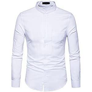 Whatlees Mens Hipster Mandarin Collar Slim Fit Long Sleeve Casual Button Down Oxford Dress Shirt with Pocket