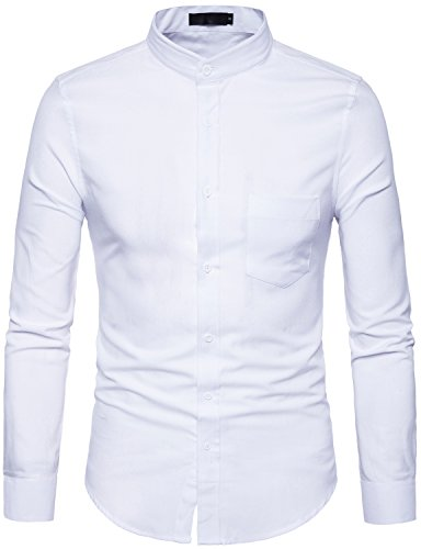 Whatlees Mens Hipster Mandarin Collar Slim Fit Long Sleeve Casual Button Down Oxford Dress Shirt with Pocket T120 White XX Large - Mandarin Collar