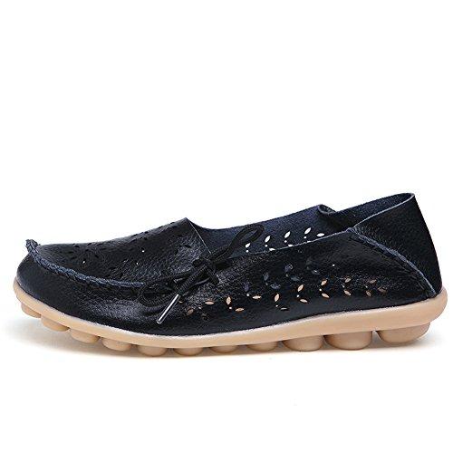 Lucksender Frauen aushöhlen Carving Casual Leder Fahren Flache Loafers Schuhe Schwarz