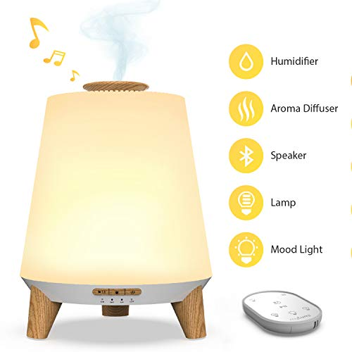 NECTAR Baby Humidifiers for Nursery, Ultrasonic Air Humidifier for Bedroom(Cool Mist & Aroma Diffuser), 7 Color with Remote Control, Bluetooth Lullaby & White Noise, Nightlight for Kids
