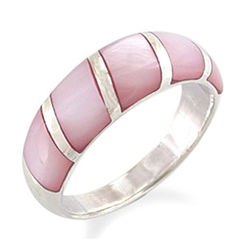 Pink Mother Of Pearl Ring (5-Stone Pink Mother Of Pearl Inlay White Gold Plated 925 Sterling Silver Ring Size 6)