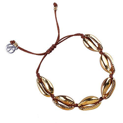 (KELITCH Natural Shell Gold Shell Cowry Beaded Friendship Bracelets Boho Fashion Beach Seashell Strand Bracelets Women Jewelry (Gold)