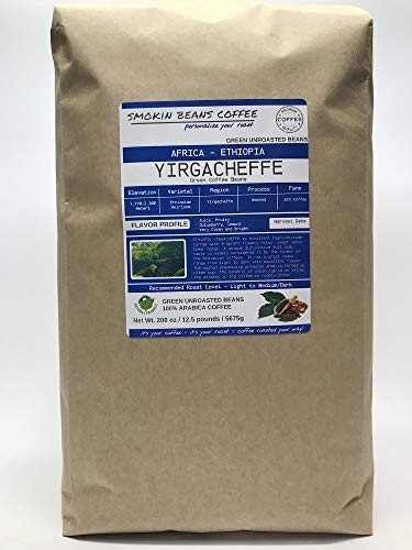 12.5 Pounds - African - Ethiopia Yirgacheffe - Unroasted Arabica Green Coffee Beans - Varietal Ethiopian Heirloom - Drying/Milling Process Washed SunDried - Unique Distinctive Taste