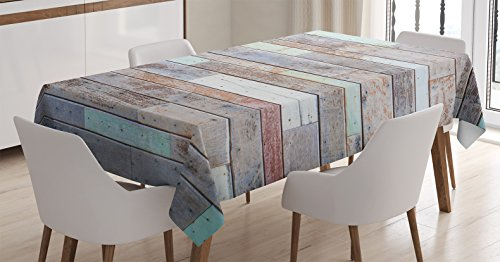 84l Panel (Ambesonne Rustic Home Decor Tablecloth by, Retro Old Fashion Lumber Wall Boarding Building Panel Structure, Dining Room Kitchen Rectangular Table Cover, 60W X 84L Inches, Brown Light Green)