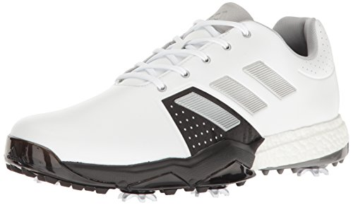 adidas Men's Adipower Boost 3 Golf Shoe, White/Silver Metallic/Black, 10.5 M US