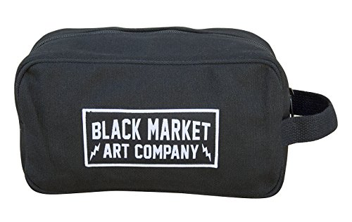 Black Market Art Co Electric Unisex Toiletry Shave Travel Dopp Kit Black Bag