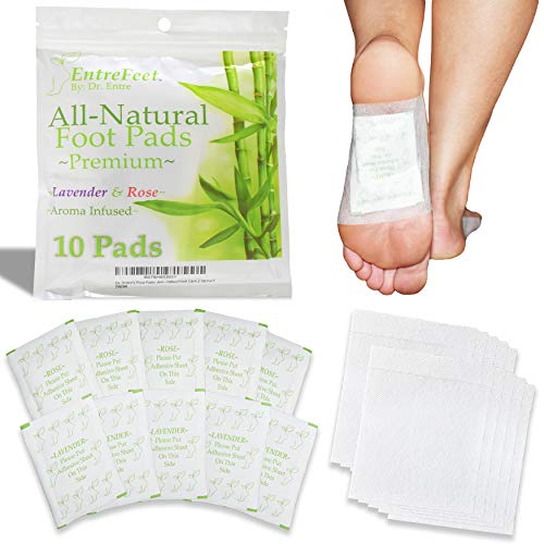 Dr. Entre's Foot Pads: Premium 100% Organic All Natural Ingredients for Impurity Removal, Pain Relief, Sleep Aid, and Relaxation | Aroma Infused Cleanse Patch | Easy & Effective | 10 Pack