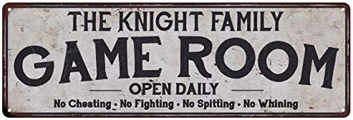 (Chico Creek Signs The Knight Family Personalized Game Room Country Metal 8x24 Sign 108240042420)