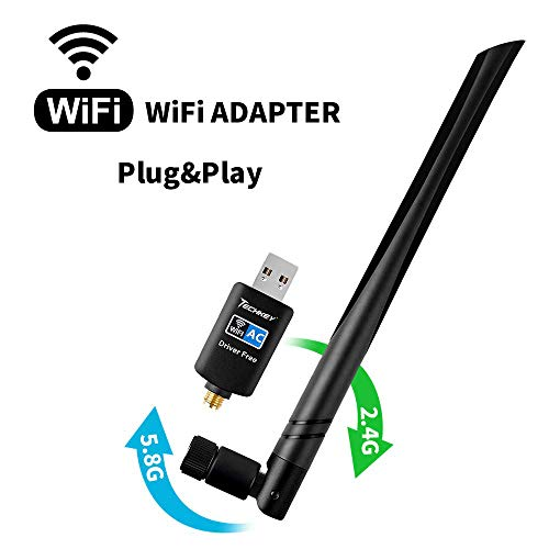 (WiFi Adapter 600mbps,Techkey Wireless USB Adapter Dual Band 2.4GHz/5.8GHz LAN Card 802.11ac Network Card for Desktop Laptop PC Support Windows 10/8.1/8 / 7 / XP/Vista/Mac OS 10.6-10.14 Mojave)