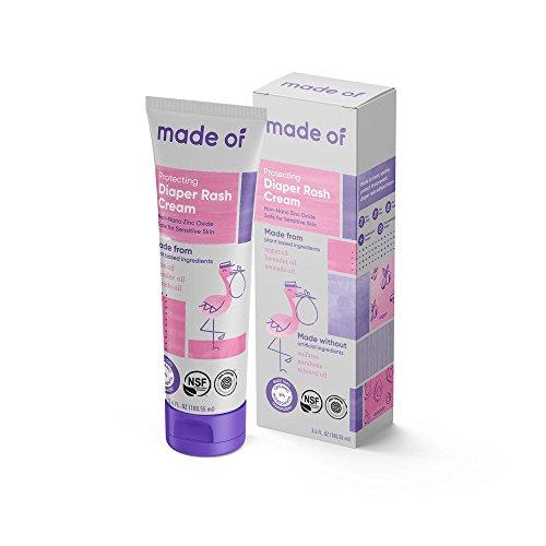 Organic Diaper Rash Cream by MADE OF - NSF Organic - Fragrance Free - Organic Diaper Ointment for Sensitive Skin and Eczema Rash and Irritation - Made in USA - 3.4oz (Fragrance Free, 1-Pack)