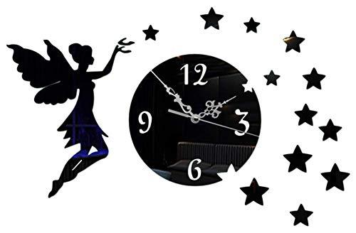 (Chuangshengnet Creative Angel Star Home Wall Clock Mirror Wall Sticker Wall Clock (Color : Black))