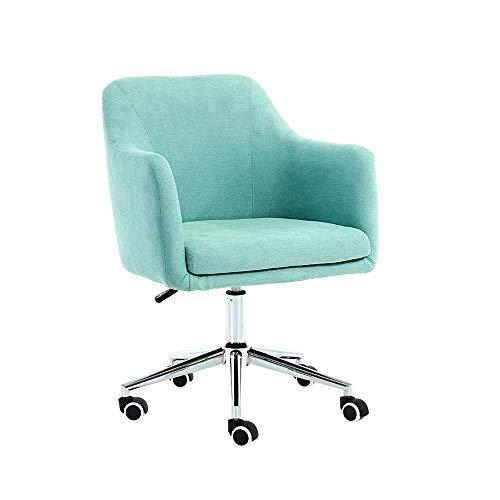 LJHA Sofa Chair Computer Chair, Home Desk Seat, Liftable Backrest Chair with U-Shaped Seat Surface Fabric Sofa Chair Lounge Chair (Color : Aqua Green)