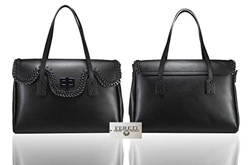FERETI Borsa grande Nero vera pelle Donna con catena intrecciata Alta qualità fatte a mano
