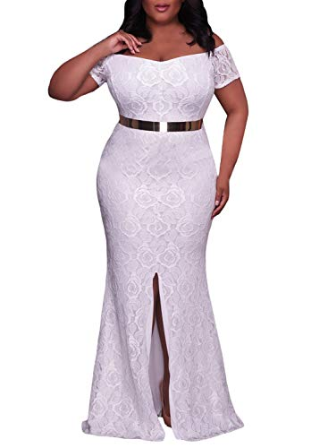 Elapsy Womens Sexy Plus Size Off Shoulder High Slit Floral Maxi Party Bohemian Wedding Formal Long Dress Evening Gown White X-Large