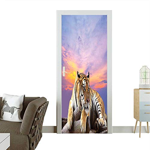 Joe Gi Claws (Homesonne Door Sticker WallpaperTiger Lying On Wood Branch Blue Sky Colorful Sunset Pose Strpies Claws Fashion and Various patternW32 x H80 INCH)