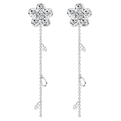 Winter's Secret 18K Silver Plum Blossom Flower Dangle Zircon Tassel Pendant Stud Earring Girl's Fashion ()