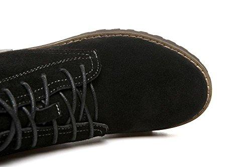 Chaussures Pour Femme En Cuir Cheville Bootie Couleur Unie Martin Boots, Velours Noir, 36