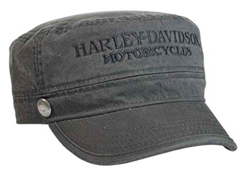 Harley-Davidson Men's Hubcap Embroidered H-D Painter's Cap, Wash Black PC102921 -