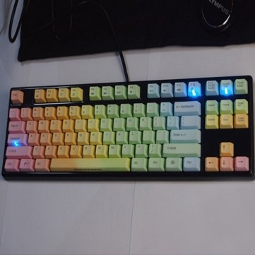 Bheema Alta calidad Keycool 87 Rainbow Keycaps Gaming Teclado mecánico -Cherry MX Azul: Amazon.es: Electrónica