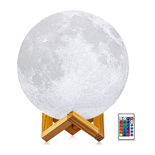 Moon Night Light, LOGROTATE 3d Printing LED 16 Colors Large Moon Lamp with Stand, Father's Mother's Day Gifts Lunar Decorative Lights with Remote&Touch Control&Dimmable&USB Recharge(Diameter 7.9 inch)