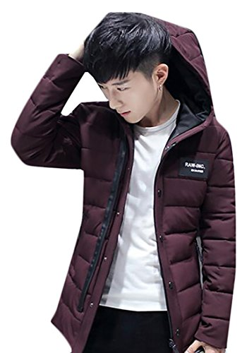Winter Quilted today Jacket Men's Red Hooded UK Thicken Warm Wine Cotton wwqHYE