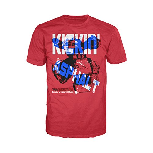 Transformers Fall Cybertron Prime Kickin Asphalt Official Men's T-Shirt (Red) (Large)