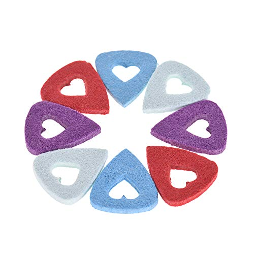 Muslady 8pcs Picks Synthetic Fiber for Ukulele Guitars 3.5mm Thickness with Heart Shape Cutout (Random Color Delivery) ()