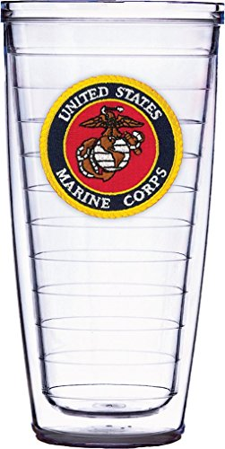 US Marine Corps Emblem On Clear Super Traveler 22 Oz Tumbler Cup