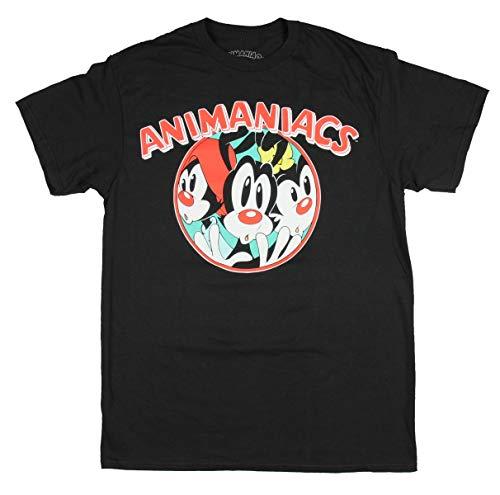 Animaniacs Tiny Toons Variety Show Wakko Yakko and Dot Graphic Print Men's T-Shirt (X-Large) Black ()