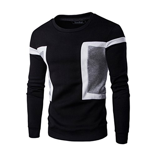 Mada Men's Stylish Crewneck Sweatshirts Classic Fit Casual Pullovers Asian Large Black