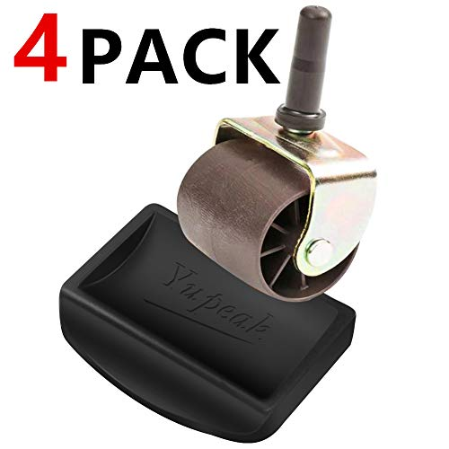Yupeak Bed Stopper & Furniture Stopper - Caster Cups fits to All Wheels of Furniture, Sofas, Beds, Chairs - Furniture Cups Made up of Solid Silicone and Prevents Scratches (4 Pack(Black))