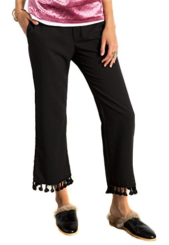 [MeshMe Womens Genevieve - Black Pom Pom Tassel Detail Bell Bottom Crop Flared Above Ankle Length Cropped Comfortable Straight Pants Small] (Hottest Cheerleader Outfits)