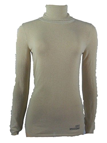 Love Moschino Women's Sheer Knit Sweater Turtleneck 6 Beige by Love Moschino (Image #1)