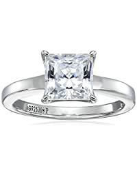 Platinum-Plated Sterling Silver Princess-Cut Swarovski Zirconia Solitaire Ring (2 cttw)