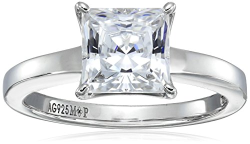 - Platinum-plated Sterling Silver Princess-Cut Solitaire Ring made with Swarovski Zirconia (2 cttw), Size 7