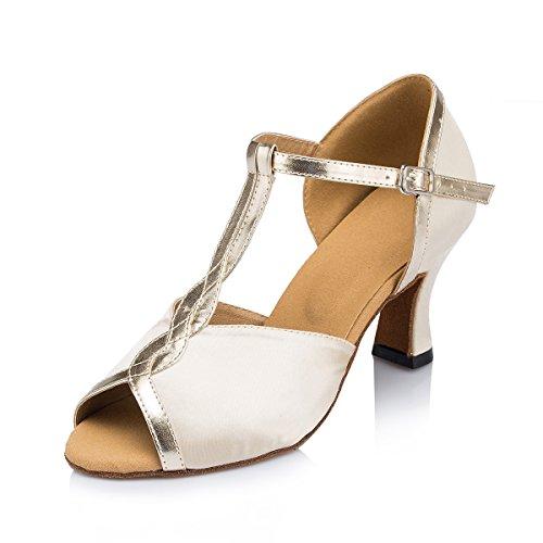 Miyoopark Donna T-strap Moda Raso Latino Tango Salsa Scarpe Da Ballo Sandali Da Sera Nude-7cm Tacco