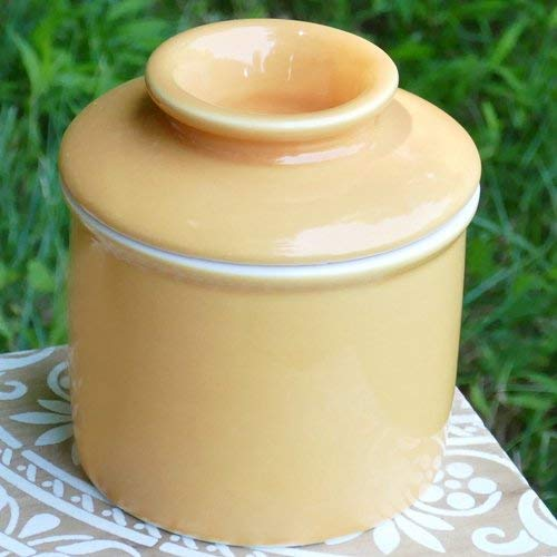 Cottage Creek - Porcelain Butter Dish -Butter Crock - Light Yellow French Butter Keeper - Housewarming Gifts - Kitchen Utensils