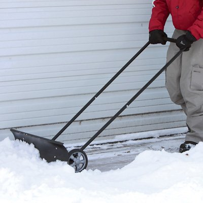 Wheeled Snow Shovel Pusher