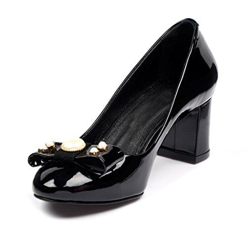 de Mujer Cuero Tacón US 8 Colección Vestir de para Zapato de Jackie BOBERCK Negro aqYtx4w8x