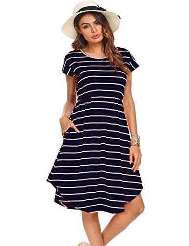 Women's Striped Tunic Dress Casual Swing Short Sleeve Pockets T-Shirt Loose Dress Dark Blue,L Casual Day Dresses
