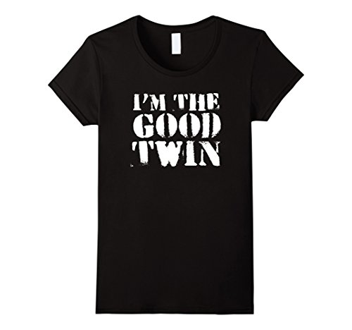 Womens Im The Good Twin | Funny Halloween Horror Shirt Medium Black (Twin Costumes For Teens)
