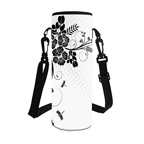 Dragonfly Stylish Bottle Sleeve,Floral Ornament with Fern Plants Leaves Nature Elegance Stylized Illustration Decorative for Bottle & Vacuum Cup,3.1