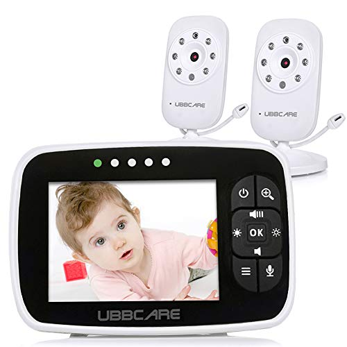 "Home Video Baby Monitors with Two Camera and Audio 3.5"" Large LCD Screen Night Vision Two Way Talk Monitoring System Baby Shower Gifts"