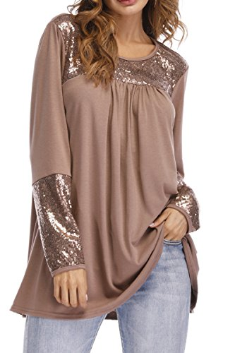 Symptor Womens Sequin Embellished Long T-Shirt Tops Crewneck Long Sleeve Blouse Khaki M