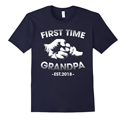 First Time Grandpa Gifts - Mens First Time Grandpa Est 2018 Funny Gift Grandpa T-Shirt XL Navy