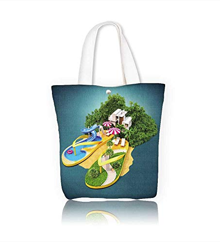 Canvas Tote Bag Tropical resort on flip flops Hanbag Women Shoulder Bag Fashion Tote Ba W22xH15.7xD7 INCH