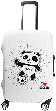 スーツケースカバー トラベルケース 荷物カバー 弾性素材 傷を防ぐ ほこりや汚れを防ぐ 個性 出張 男性と女性サッカーが大好きなパンダ